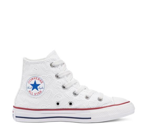 Converse Scarpe Donna Bianche Pizzo Ricamo Cuori Sneakers All Star ...