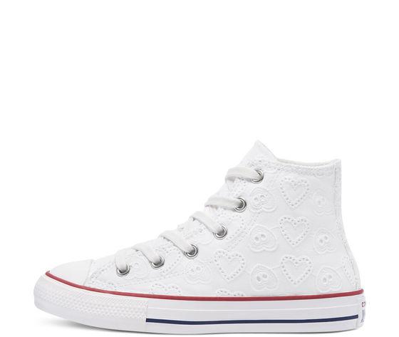 Converse scarpe donna bianche pizzo ricamo cuori sneakers all star ctas lift hi art. 671097c 1