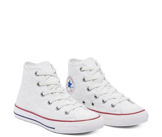 Converse scarpe donna bianche pizzo ricamo cuori sneakers all star ctas lift hi art. 671097c 2