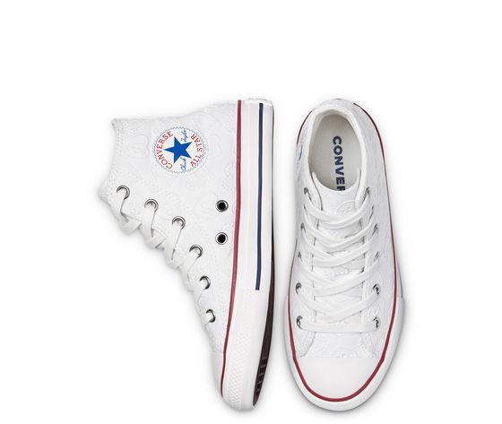 Converse scarpe donna bianche pizzo ricamo cuori sneakers all star ctas lift hi art. 671097c 3