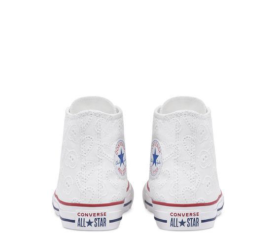 Converse scarpe donna bianche pizzo ricamo cuori sneakers all star ctas lift hi art. 671097c 5
