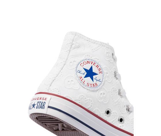 Converse scarpe donna bianche pizzo ricamo cuori sneakers all star ctas lift hi art. 671097c 6