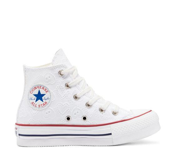 Converse scarpe donna bianche pizzo platform ricamo cuori love ceremony eva chuck taylor all star high top art. 671104c