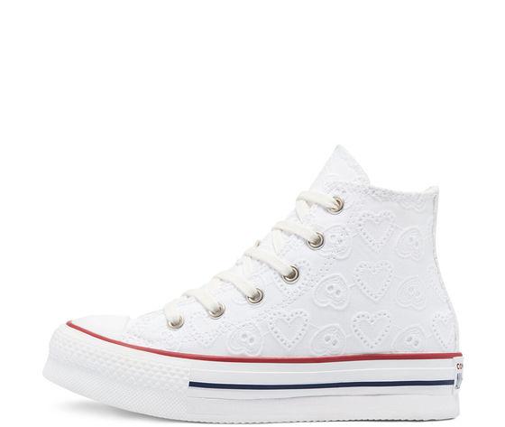 Converse scarpe donna bianche pizzo platform ricamo cuori love ceremony eva chuck taylor all star high top art. 671104c 1