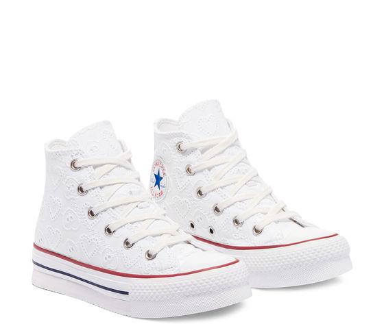 Converse scarpe donna bianche pizzo platform ricamo cuori love ceremony eva chuck taylor all star high top art. 671104c 2
