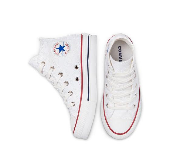 Converse scarpe donna bianche pizzo platform ricamo cuori love ceremony eva chuck taylor all star high top art. 671104c 3
