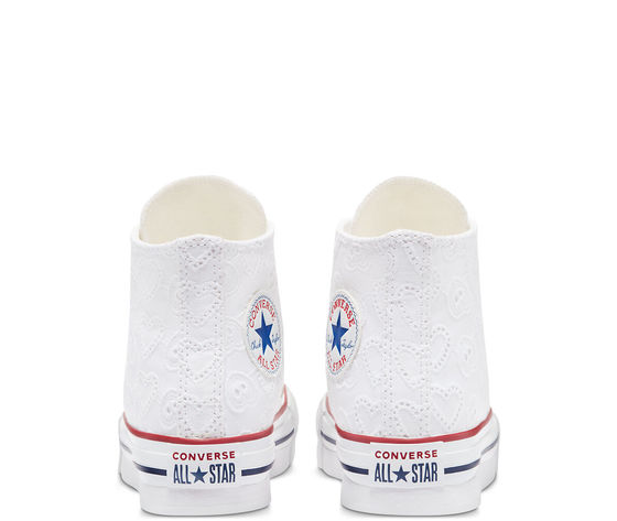 Converse scarpe donna bianche pizzo platform ricamo cuori love ceremony eva chuck taylor all star high top art. 671104c 5