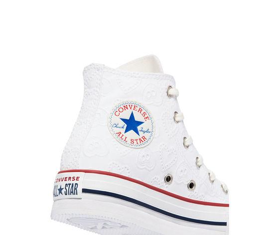 Converse scarpe donna bianche pizzo platform ricamo cuori love ceremony eva chuck taylor all star high top art. 671104c 6