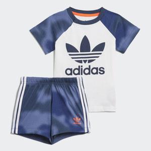 Adidas Originals Completo Bambino T-Shirt Pantaloncino Blu e Bianco Large Trefoil Camo Print art. GN4110