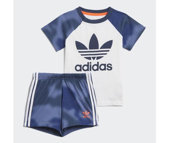 Adidas originals completo bambino t shirt pantaloncino blu e bianco large trefoil camo print art. gn4110