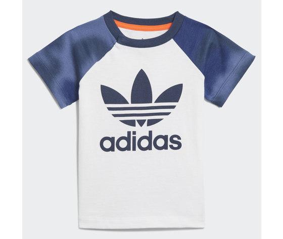 Adidas originals completo bambino t shirt pantaloncino blu e bianco large trefoil camo print art. gn4110 1