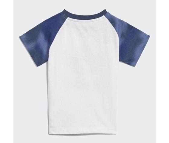 Adidas originals completo bambino t shirt pantaloncino blu e bianco large trefoil camo print art. gn4110 2