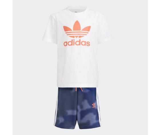 Adidas originals completo bambino t shirt pantaloncino bianco blu logo arancio large trefoil camo print art. gn4123