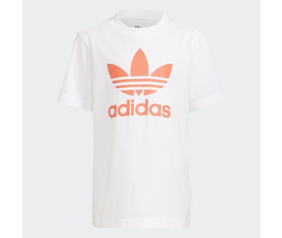 Adidas originals completo bambino t shirt pantaloncino bianco blu logo arancio large trefoil camo print art. gn4123 1