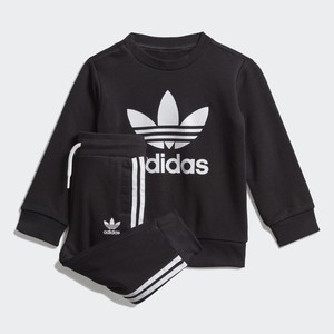 Adidas Originals Completo Tuta Bambino Nero In Spugna Crew Sweatshirt art. ED7679