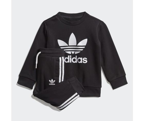 Adidas originals completo tuta bambino nera in spugna crew sweatshirt art. ed7679