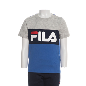 Fila T shirt Da Bambino Grigio Melange Blu Royal Color Block art. 688023 A763