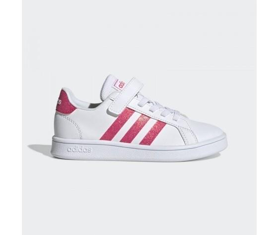 Scarpe bambina adidas originals grand court bianche e rosa con chiusura lacci e strappo art. eg3811