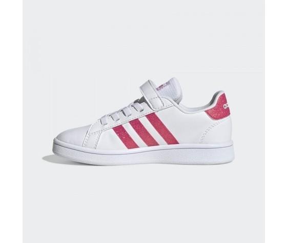 Scarpe bambina adidas originals grand court bianche e rosa con chiusura lacci e strappo art. eg3811 12