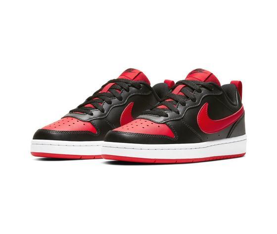Scarpe nike court borough gs low nero e rosso sneakers basse ragazzi art. bq5448 007 1