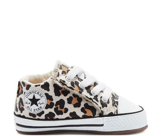 Scarpette da neonati converse leopard in tela con chiusura a strappo art. 870415c