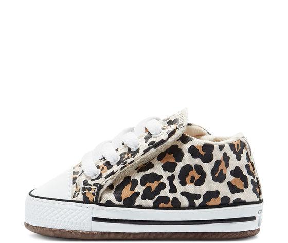 Scarpette da neonati converse leopard in tela con chiusura a strappo art. 870415c 1