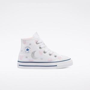 Scarpe Converse Bambina Bianche Stampa Cuori e Lune Sneakers Alte Tela art. 771093C
