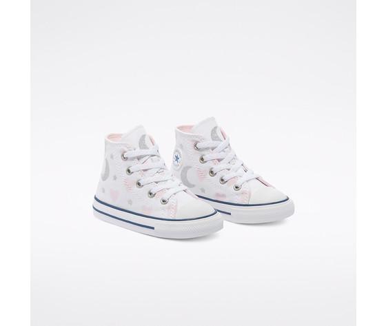 Scarpe converse bambina bianche stampa cuori e lune sneakers alte tela art. 771093c  2