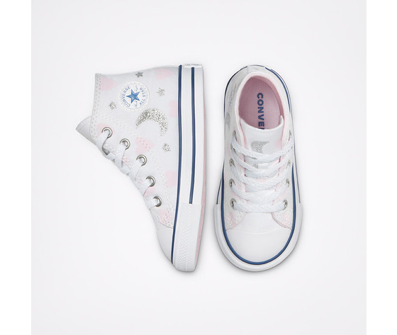 Scarpe converse bambina bianche stampa cuori e lune sneakers alte tela art. 771093c 3