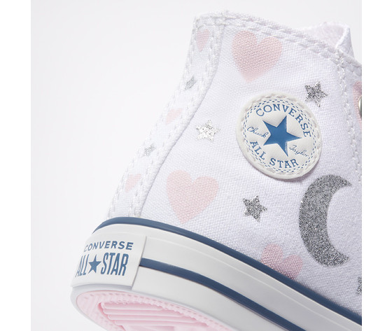 Scarpe converse bambina bianche stampa cuori e lune sneakers alte tela art. 771093c  5