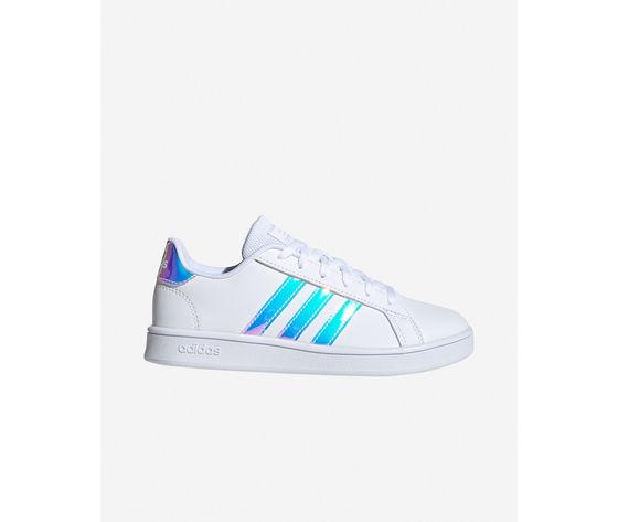 Scarpe ragazze bianche adidas grand court jr gs three stripes art. fw1274