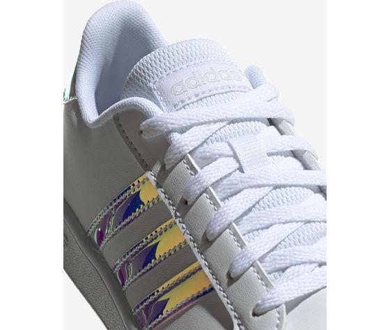 Scarpe ragazze bianche adidas grand court jr gs three stripes art. fw1274 2