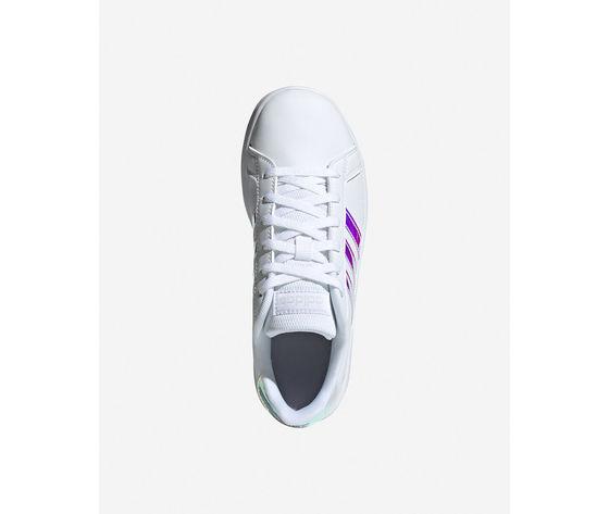Scarpe ragazze bianche adidas grand court jr gs three stripes art. fw1274 3