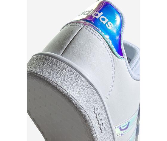 Scarpe ragazze bianche adidas grand court jr gs three stripes art. fw1274 1