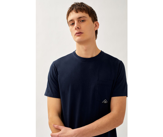T shirt uomo roy roger's blu girocollo con taschino cotone jersey art. p21rru500c9320306 b