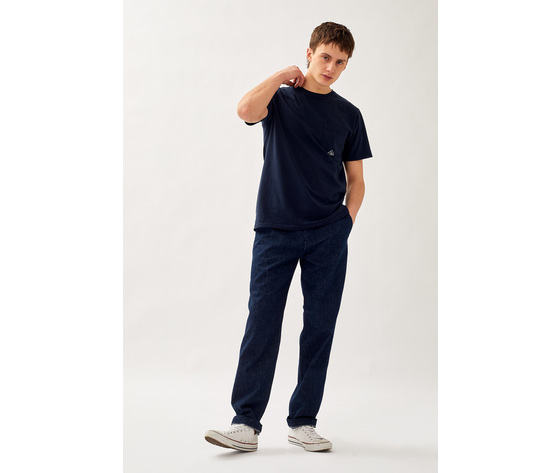 T shirt uomo roy roger's blu girocollo con taschino cotone jersey art. p21rru500c9320306 b 1
