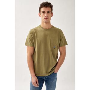 T-Shirt Uomo Roy Roger's Verde Army Green Girocollo Con Taschino Cotone Jersey art. P21RRU500C9320306 V