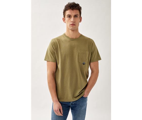 T shirt uomo roy roger's verde army green girocollo con taschino cotone jersey art. p21rru500c9320306 v