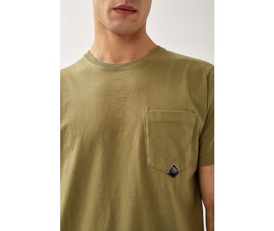 T shirt uomo roy roger's verde army green girocollo con taschino cotone jersey art. p21rru500c9320306 v 2