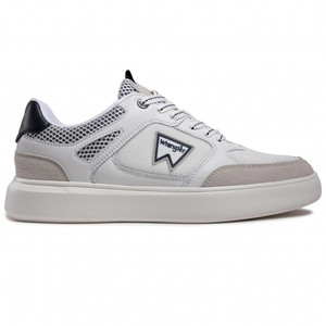 Scarpe Uomo Bianche Dettagli Blu Wrangler Davis Basket Sneakers White Navy art. WM11021A W0257