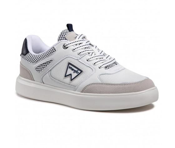 Scarpe uomo bianche dettagli blu wrangler davis basket sneakers white navy art. wm11021a w0257 1