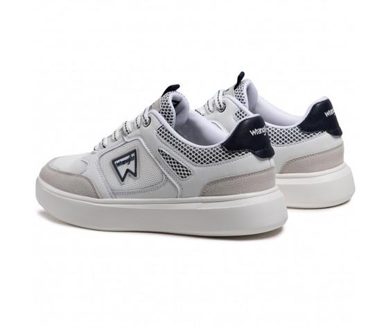 Scarpe uomo bianche dettagli blu wrangler davis basket sneakers white navy art. wm11021a w0257 2