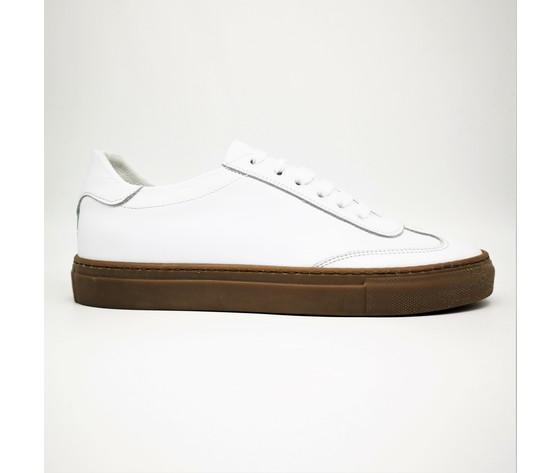 Sneakers bianco basse fondo ambra gum uomo in vera pelle essential colbaffo%c2%ae art. 2019 ba %282%29