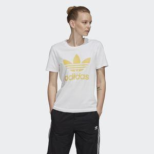 T-Shirt Donna Bianca Trifoglio Giallo Adidas Originals Trefoil Tee art. FM3292