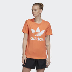 T-Shirt Donna Arancione Trifoglio Bianco Adidas Originals Trefoil Tee art. FM3295