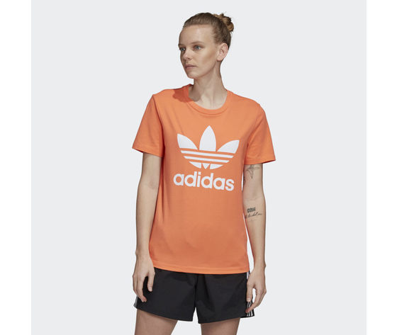 T shirt donna arancione trifoglio bianco adidas originals trefoil tee art. fm3295 %281%29
