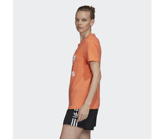 T shirt donna arancione trifoglio bianco adidas originals trefoil tee art. fm3295 %283%29