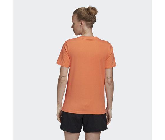 T shirt donna arancione trifoglio bianco adidas originals trefoil tee art. fm3295 %282%29