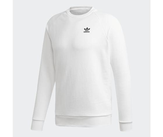 Felpa uomo bianca adidas originals loungewear trefoil essentials crewneck art. ed6208