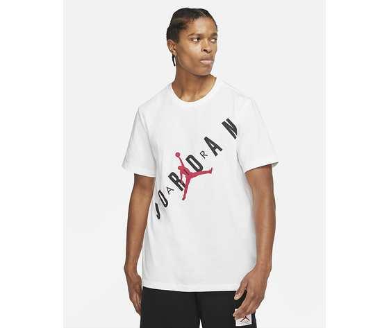 T shirt bianca girocollo jordan hbr stretch crew tee logo frontale art. da1894 100